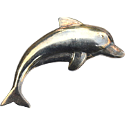 SALE Vintage Hallmarked STERLING SILVER Dolphin Pin