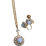 Vintage 12K Gold Filled Faux Opal and Paste Stone Demi, Earrings and Pendant Necklace
