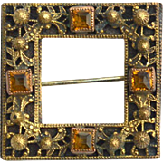 Early Square Shaped Pin With Citrine Colored Square Rhinestones