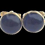 SALE Vintage Signed SWANK Blue Glass Cuff Links