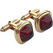 Vintage 12K Gold Filled Red Stone Cuff Links Cufflinks, KREISLER QUALITY