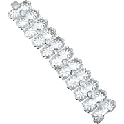 SALE Super Wide Signed CORO Pegasus Silver Toned Metal Bracelet