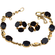 SALE PENDING Vintage Hallmarked BURT CASSELL 12K Yellow Gold Filled and Onyx Demi, Bracelet an