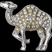 SALE Vintage Signed ORA Camel Pin, Clear Rhinestones