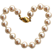 Vintage Signed MARVELLA Hand Knotted Faux Pearl Bracelet