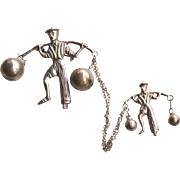 Early Vintage Hallmarked MEXICO SILVER Asian Water Carrier Chatelaine Pins