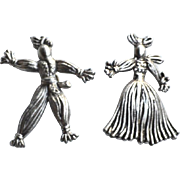 SALE Vintage Silver Tone Man and Woman Rag Doll Pins