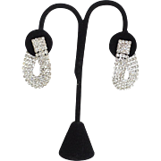 SALE Vintage Sparkling Wrap Around Rhinestone Clip Earrings