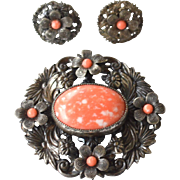 SALE Early Vintage Faux Coral Stone Demi, Ornate Silver Tone Metal Pin and Earrings