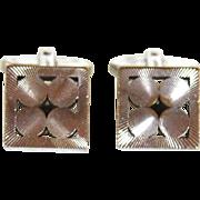 Vintage Signed W GERMANY Geometric Mid Century Modern Silver Tone Cuff Links Cufflinks