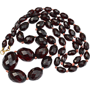 Fabulous Cherry Amber Bakelite Faceted Graduated Bead Necklace