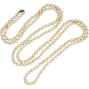 Ultra Hard To Find 72 INCH Glass Pearl Necklace, Sterling Clasp, Flapper Length