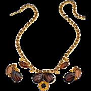 Juliana Rootbeer Art Glass Tiger Stripe Rhinestone Necklace and Earrings Demi Set