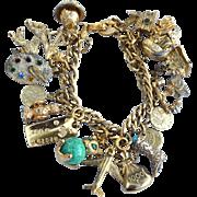 Vintage Signed MONET Loaded Charm Bracelet, Sterling, Avon, Mechanical, Stanhope