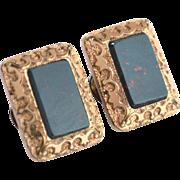 June 14, 1881 Victorian Era Bloodstone Gold Filled Cufflinks Cuff Links