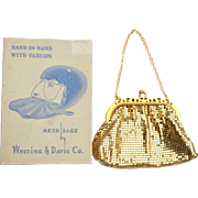 Vintage WHITING and DAVIS Mint in Box Goldtone Mesh Bag Purse