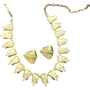 Vintage Signed CORO Pale Lemon Yellow Confetti Lucite Demi, Necklace and Earrings, Original Bo