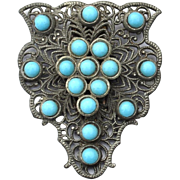 Vintage 1920's Turquoise Glass Bead Dress Clip