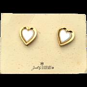 Vintage Signed CROWN TRIFARI Faux Pearl Heart Earrings, Original Card