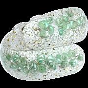 Vintage Confetti Lucite Seashell Clamper Bracelet, Mint Green
