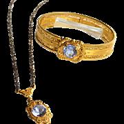 Circa 1933 Art Deco Era Filigree Gold Vermeil Bracelet and Matching Necklace, JJ WHITE, Large