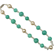 Early Gold Filled Green Art Glass, Faux Pearl, and Crystal Necklace