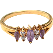 Hallmarked STERLING SILVER and Amethyst and Clear Stone Ring, Gold Vermeil