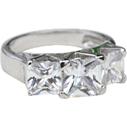 Hallmarked STERLING SILVER Square Cut Clear Stone Ring, Huge Stones!