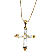 Vintage Hallmarked STERLING SILVER Cross Pendant Necklace, CZ's and Gold Vermeil, Box Chain