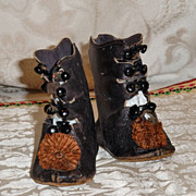 SOLD Antique French Bebe Shoes Marked CM