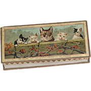 Victorian Cardboard Dresden Box with Kitties