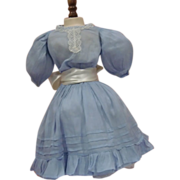 SOLD Antique Sky Blue Cotton Dress - 2 Piece