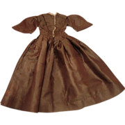 SOLD All Original  Antique Silk Dolls Dress - Pristine