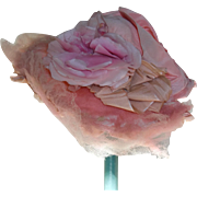 SALE PENDING Pink Silk Roses and Tulle Bonnet