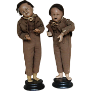SALE PENDING Pair of Poured Wax Dolls - Rare