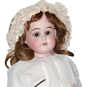 """SOLD 20"""" Antique German Bisque Doll with Leather Body"""