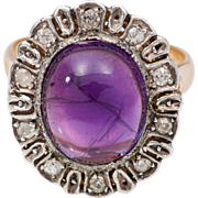 SOLD Victorian Amethyst and Diamond Ring