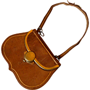 Antique Leather purse for Dolls with Gold tooling