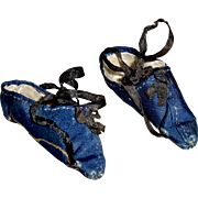 SOLD Antique Blue Silk Shoes for your Papier Mache Doll