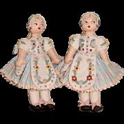 Pair of Twin Sister Felt Dolls.
