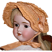 SOLD Antique Ruched Apricot Silk Bonnet