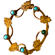 SOLD Sweet Victorian Circle Pin of gold leaves and turquoise