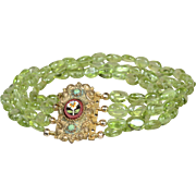 Victorian Gilt and Micro Mosaic clasp bracelet with Peridot