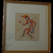 Vintage Harrison Begay Navajo Silk Screen, Hoop Dance,  Artist Signed