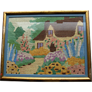 Colorful Vintage English Garden cross-stitch, thatched roof  cottage, house, hollyhocks