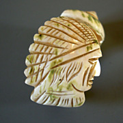 SOLD Antique Mother of Pearl Napkin Ring, hand-carved Indian Chief