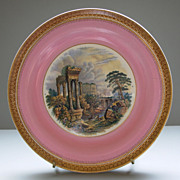 """SOLD Antique Pratt Ware Plate """"Goats Amidst the Ruins"""""""