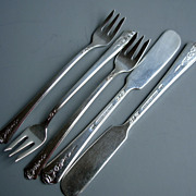 5 pc. Holmes & Edwards Spring Garden silverplate 2 butter, 3 seafood  forks