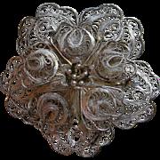 Vintage Sterling Filigree Flower Brooch, Mexico