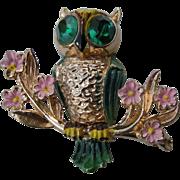 REDUCED Vintage Coro Gold Tone & Enamel Owl, Katz
